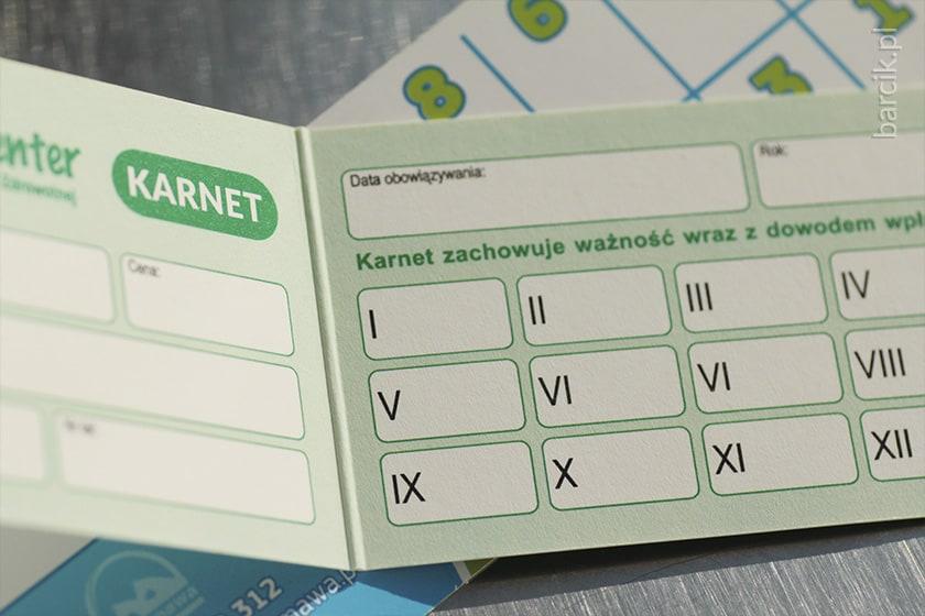 Karnet bigowany podwójny, wizytówki składane po krótkim boku do formatu 50 x 90 mm, karton jednostronny + folia błysk jednostronnie | barcik.pl