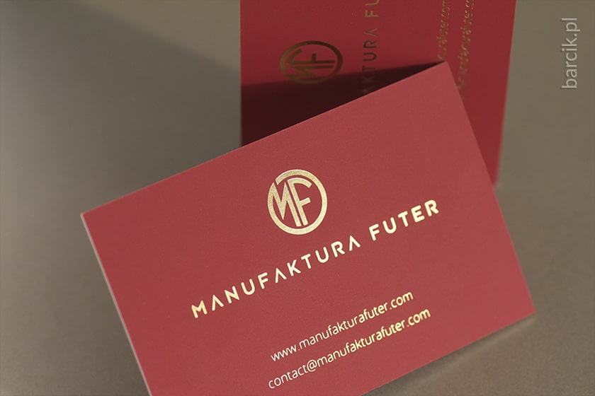 Wizytówki offsetowe, kreda 350 g, 85 x 55 mm, folia soft touch, hot stamping jednostronnie | barcik.pl