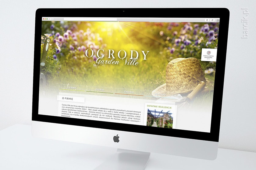 Web design - strona startowa witryny firmowej | gardenville.pl