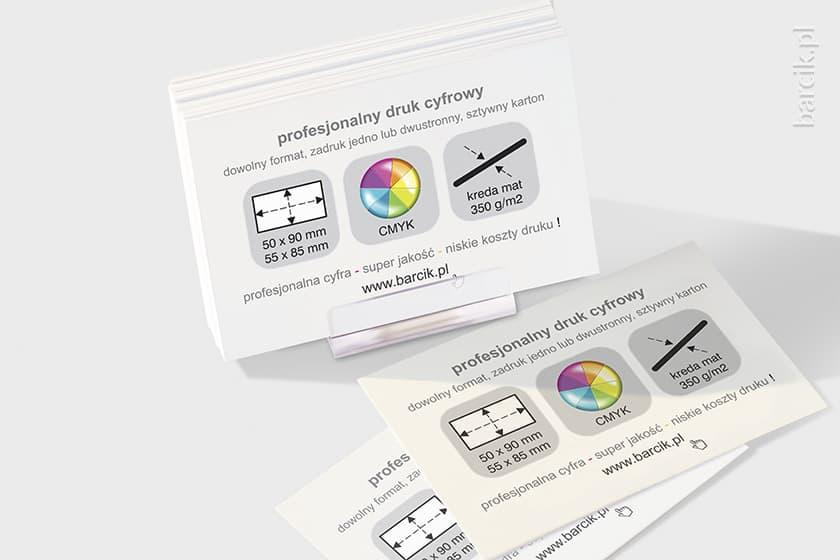 Wizytówki ekspresowe 85 x 55 mm, kreda mat 350g, druk cyfrowy jednostronny z HP Indigo