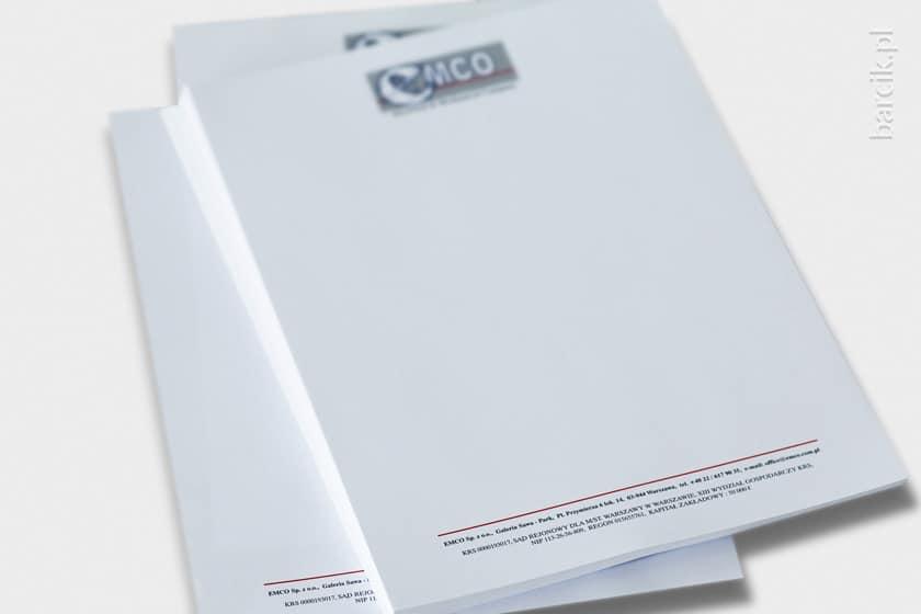 Papier firmowy klasyczny z nagłówkiem i stopką, druk offsetowy CMYK