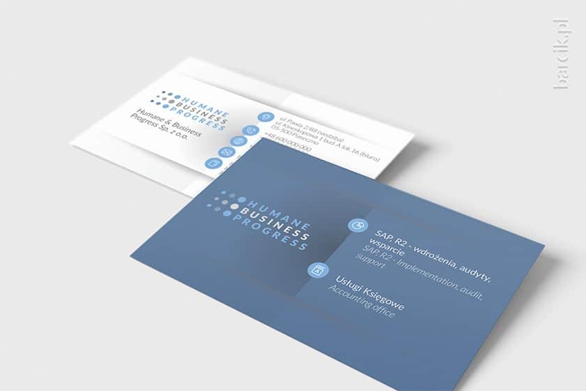 Designerska wizytówka dwustronna z podziałem informacji