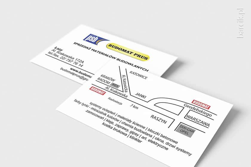 Druga strona wizytówki z mapką i proponowanym asortymentem