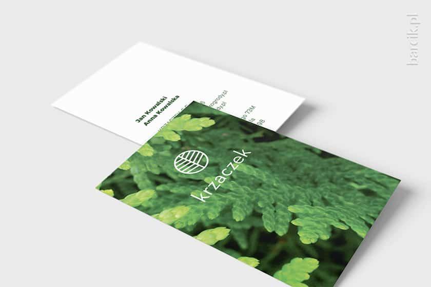 Druga strona wizytówki ze znakiem firmowym na tle grafiki