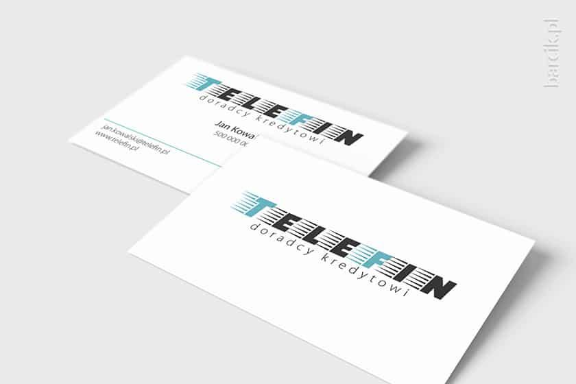 Dwustronnie powtórzone duże logo na wizytówce firmowej