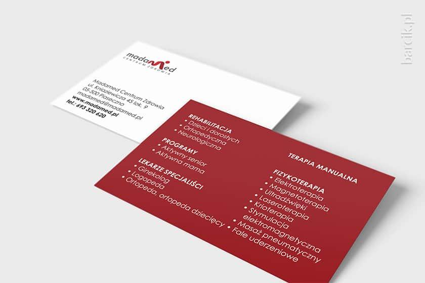 Wizytówka dwustronna z informacją o zakresie proponowanych usług