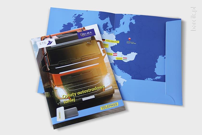Teczka A4 jednobigowa kreda 350g, druk offsetowy dwustronny w kolorystce CMYK + folia mat dwustronnie