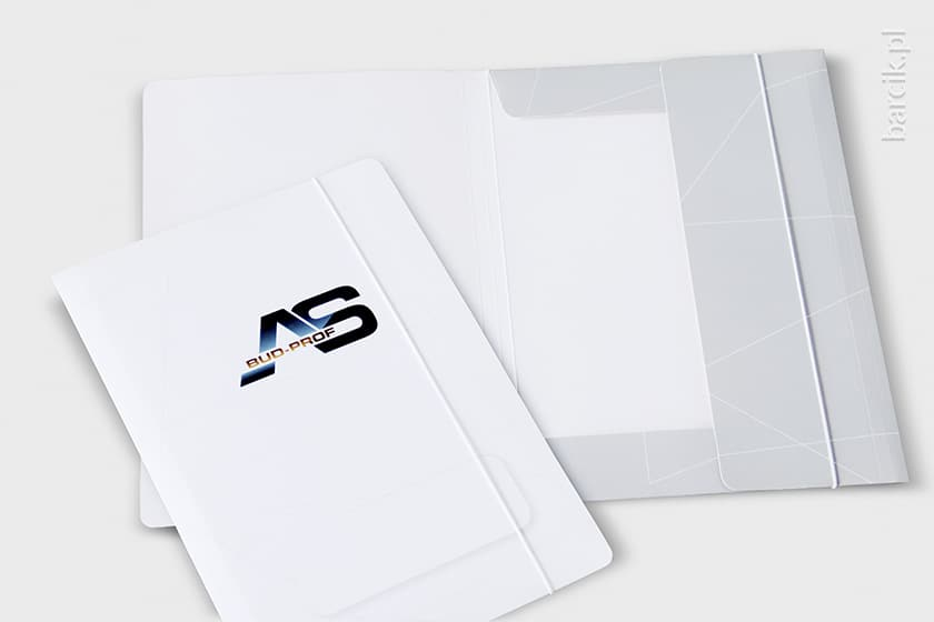 Teczka z gumką, karton jednostronny 300g, druk offsetowy jednostronny + folia mat lub błysk