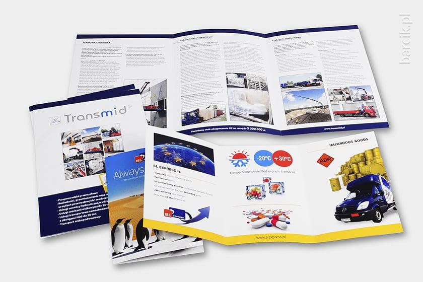 Foldery firmowe składane na 3 łamy, 3 x A4 i 3 x A5