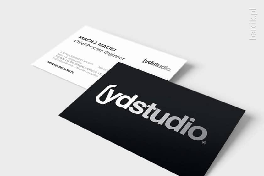 Dwustronna wizytówka designerski rewers duże logo w kontrze