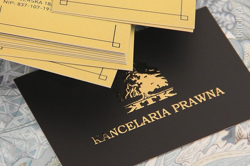 wizytówki premium złoty liquid na foli matowej